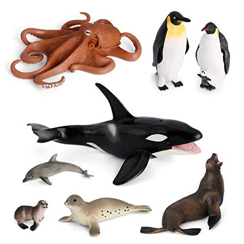 Volnau Sea Creature Toys 8PCS Antarctica Ocean Sea Animal Figurines for Toddlers Kids Christmas Birthday Gift Plastic Fish Toys Preschool Pack and Bath Penguin Killer Whale Figures Set