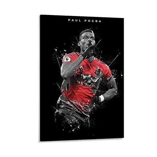 Poster sportivo ad alta definizione di Paul Pogba con immagine di calcio di Superstar calciatore di Paul Pogba HD Poster decorativo da parete su tela e arte da parete, 50 x 75 cm