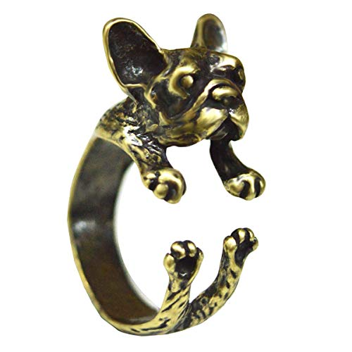 Queenbox French Bulldog Wrap Ring Handmake Adjustable Antique Animal Ring for Women,Gold