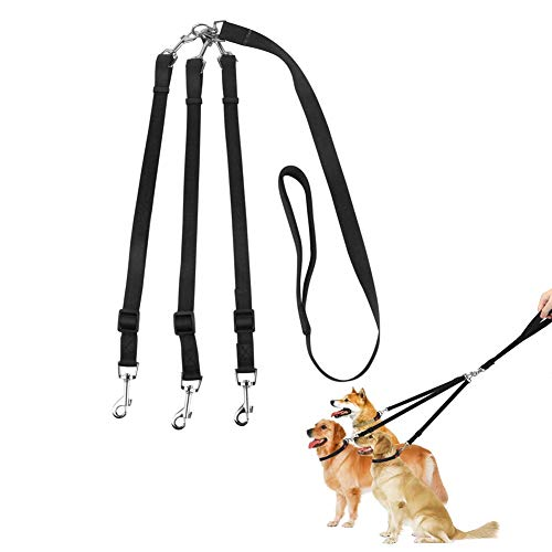 ASOCEA 3 in 1 Dog Leads with Soft Padded Handle No Tangle 3 Way Dogs Coupler Leash Pet Triple Lead Nylon Traction Rope for Walking