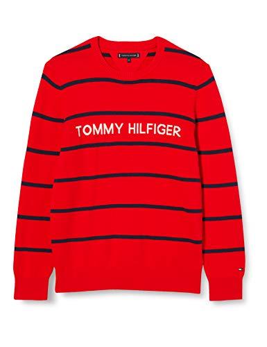 Tommy Hilfiger Jungen Hilfiger Sweater Pullover, Deep Crimson Stripe, 5