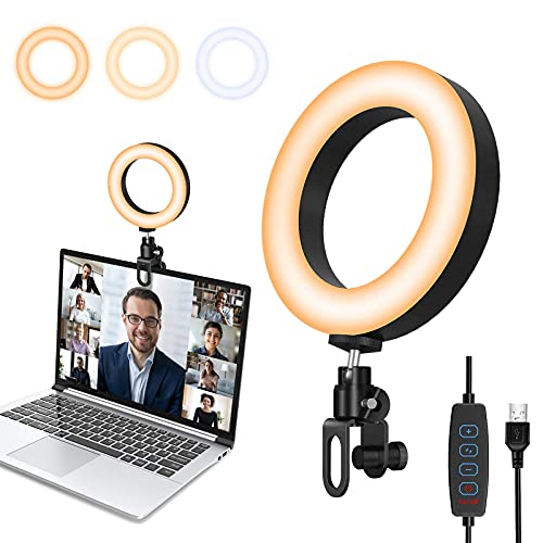 Videokonferenz Beleuchtung Licht, Ringlicht Laptop mit Clip, USB Dimmbare LED Beleuchtungsset für Videokonferenzen, Fernarbeit, Fernunterricht, Zoom Anrufbeleuchtung und Live-Streaming
