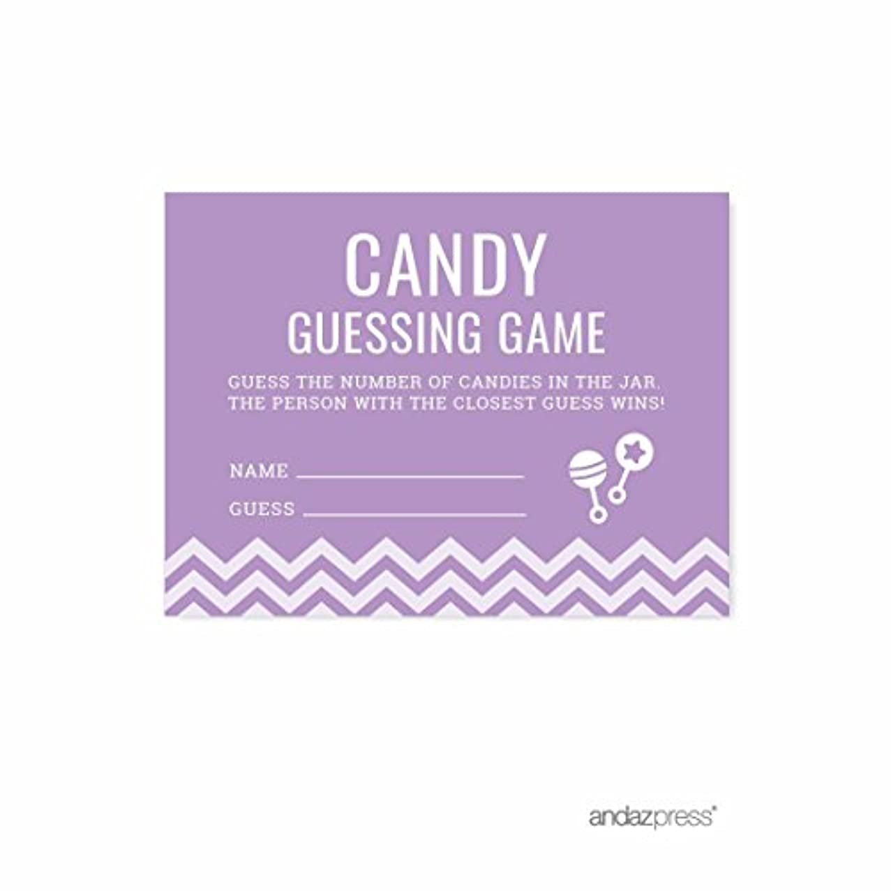Andaz Press Lavender Chevron Girl Baby Shower Collection, Games, Activities, Decorations, Candy Guessing Game Cards, 30-pack