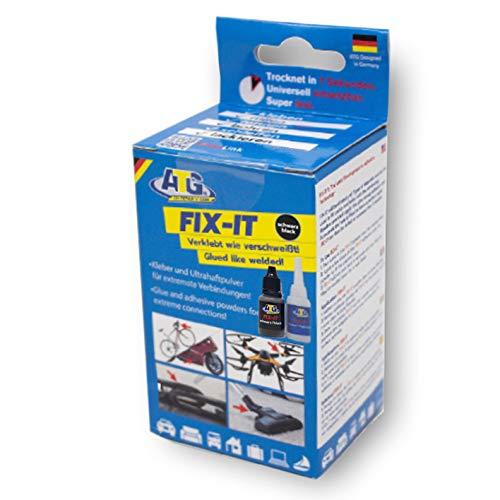 ATG ATG108 Fix It Sekundenkleber extra stark | Präzise Kleber für Kunststoff (Plastik), Glas, Porzellan, Metall und Holz | Granulat Schwarz