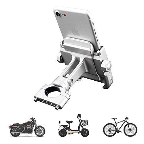 "vicelecus Motorcycle Phone Mount, Adjustable Anti Shake Metal Bike Phone Holder for iPhone X/8/7/6 Plus Samsung Galaxy S9/S8/S7/S6 GPS, Holds Devices up to 3.7"" Width (Silver)"