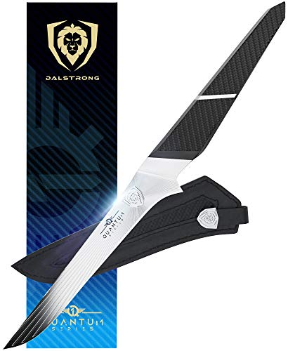 DALSTRONG - Boning Knife - Quantum 1 Series - American Forged BD1N-VX High-Carbon Steel - Carbon Fibre G10 Hybrid Handle - Leather Sheath