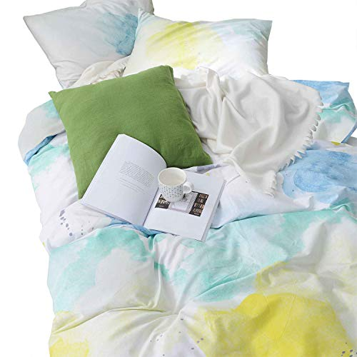 Wake In Cloud - Watercolor Comforter Set, 100% Cotton Fabric with Soft Microfiber Fill Bedding, Teal Blue Yellow Gray Painting Pattern Printed on White (3pcs, Queen Size)