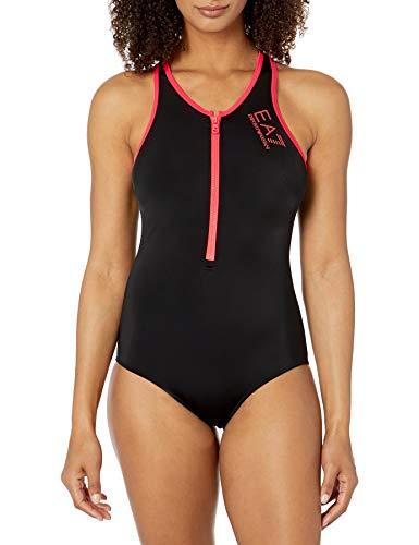 Emporio Armani EA7 Damen Solid High Neck Active Einteiler Badeanzug - Schwarz - Small
