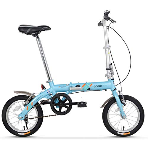 Xiaoyue Erwachsene Bikes Folding, Unisex Kinder Single Speed faltbares Fahrrad, leichte, tragbare Mini 14-Zoll-verstärkten Rahmen Commuter Bike, Blau lalay (Color : Blue)
