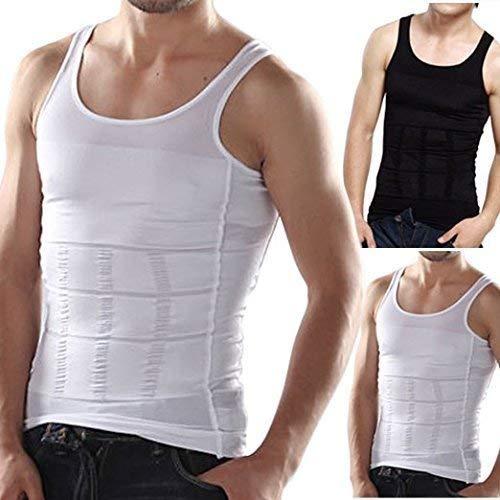 RUBS Slimming Tummy Tucker Slim & Lift Body Shaper Vest/Men's Undershirt Vest to Look Slim Instantly (Medium, White)