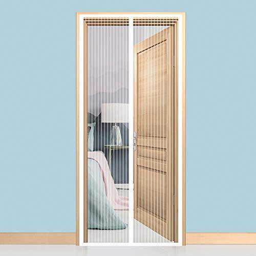 GIMARS Fliegengitter Tür Insektenschutz 90x210 cm / 100x220 cm / 110x220 cm Magnet Vorhang Fliegenvorhang Moskitonetz für Balkontür Wohnzimmer Terrassentür, Klebmontage ohne Bohren(weiß)