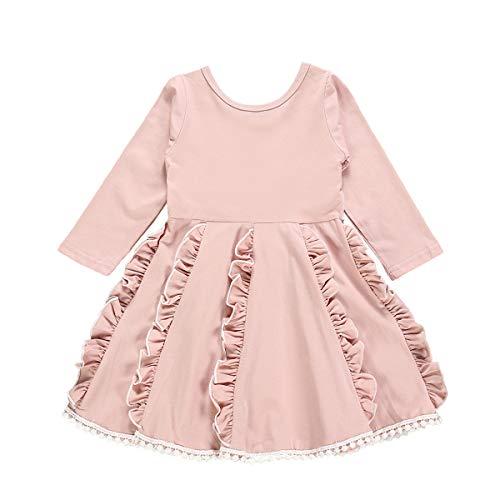 Vestido infantil para bebês meninas com borda de renda floral vestido de festa manga curta flare rosa, Pink Cotton White Lace Dress, 4-5T