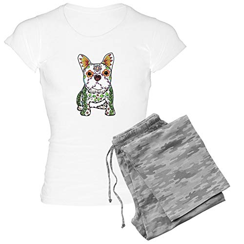 CafePress Sugar Skull Frenchie Pajamas Womens Novelty Cotton Pajama Set, Comfortable PJ Sleepwear