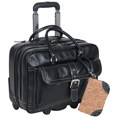 """Heritage Travelware 'Lake View' Women's Pebbled SOHO Leather Multi-Compartment 15.6"""" Laptop & Tablet Wheeled Business Portfolio Tote / Overnighter Carry-On, Black"""