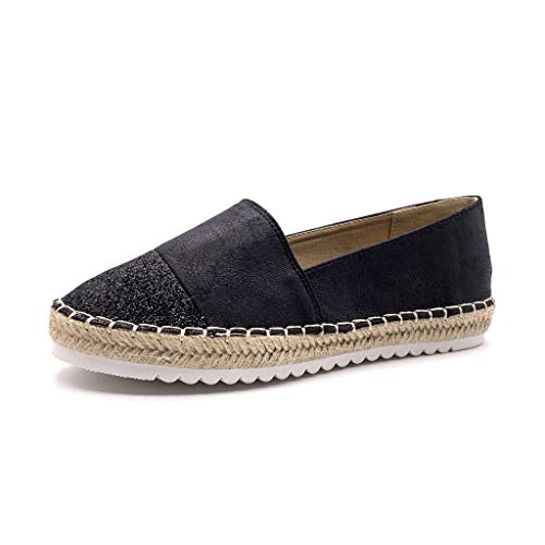 Angkorly schoenen, modieus, espadrille, comfortabel, plat, voor dames, strass, glitter, met rietje, platte hiel