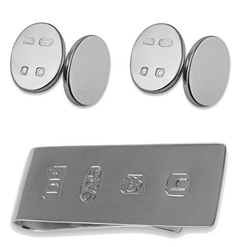 Select Gifts Sterling Silber Funktion Hallmark doppelseitige Manschettenknöpfe James Bond Geld Clip Box Set