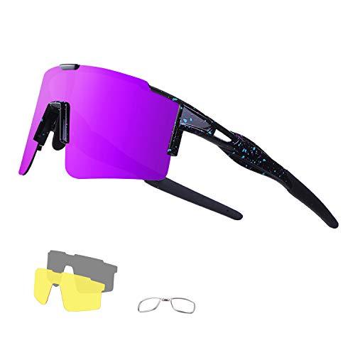 DUDUKING Occhiali da Sole Ciclismo Occhiali MTB Sportivi per Uomo e Donna con 3 Lenti Colorati Anti-UV Antivento Aviatore Specchio per Ciclismo Guida Pesca Running Golf Bici Moto