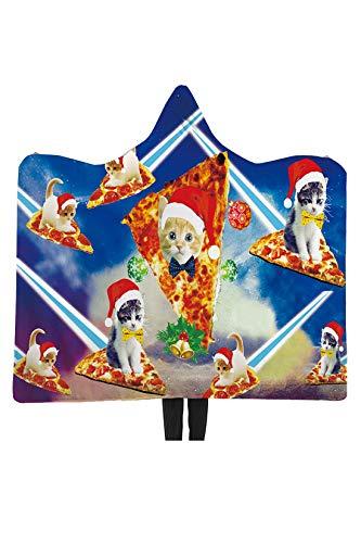 RAISEVERN Bad Decke Frauen Männer 3D hässliche Weihnachten Galaxy Pizza Katze Sherpa Fleece tragbare Decken 60 X 80 Zoll Home Winter Super weich für Schlafzimmer, blau