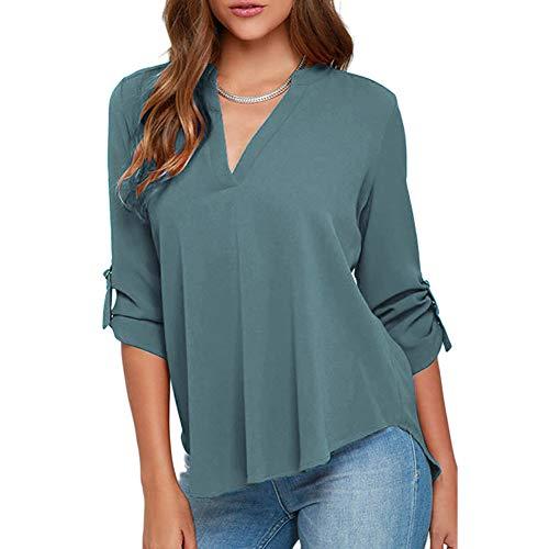 Rojeam Blusas de Gasa Casuales para Mujer Camisas y Blusas sólidas con...