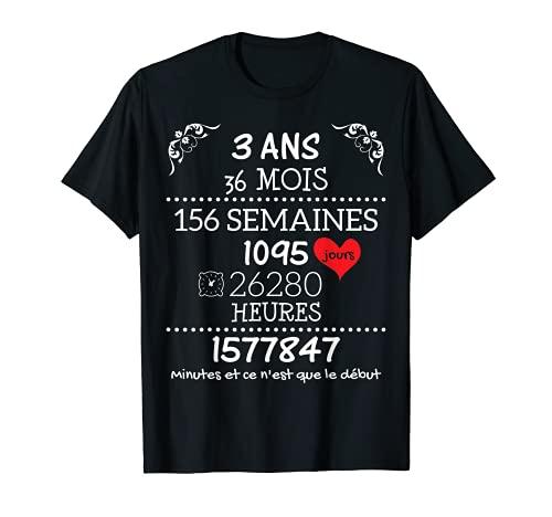 Cadeau d'Anniversaire de Mariage pour Couple - 3 Ans T-Shirt