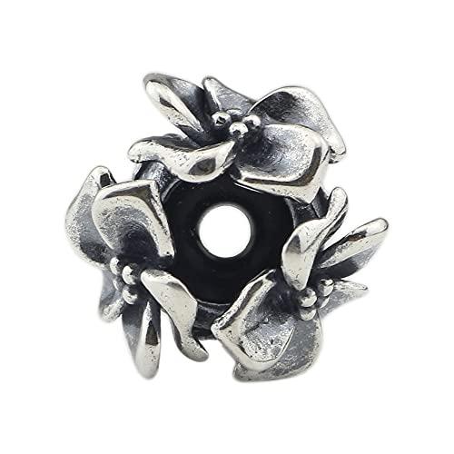 Bola De La Flor del Encanto del Grano De La Plata Esterlina De DIY 925 Adecuada para El Regalo De La Joyería De La Pulsera del Collar