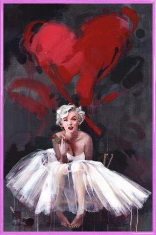 1art1 Marilyn Monroe Poster und Kunststoff-Rahmen - Gemälde, Herz, James Paterson (91 x 61cm)