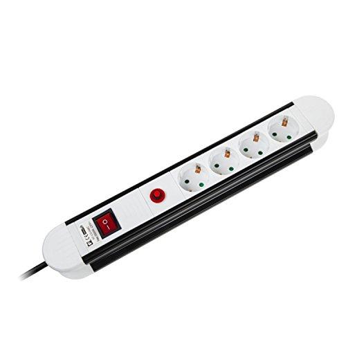Stekkerdoos 4-voudige stekkerdoos met schakelaar 5 m, -45° hoek van geaard stopcontact, kleur: zwart/wit (5 m)