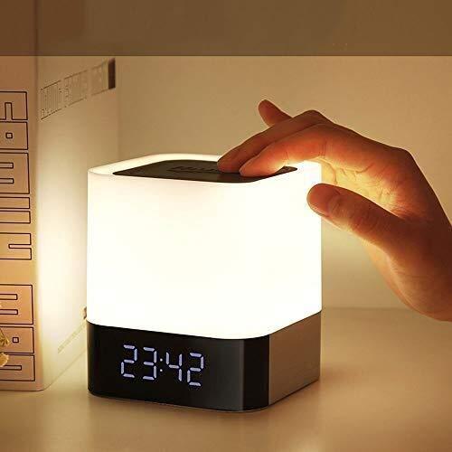 Lámparas de mesita de noche, mini USB, multifunción, lámpara de noche, LED, Bluetooth, escritorio, ABS, indicador de carga, despertador, dormitorio, estudio, salón y suavizantes