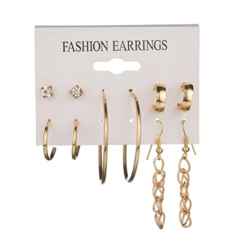 5 Pairs Multiple Punk Big Hoop Earring Stud Earrings Set Women Fashion Jewelry (Gold)