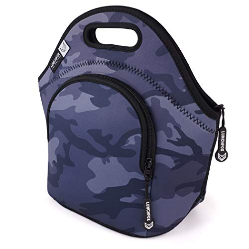 Neoprene Lunch Bags for Women/Men - Runyon Camo by LunchFox - Blue/Grey Camouflage Insulated Lunch Bag/Tote - (The Original) Ultra Thick Neoprene Lunch Totes - The Adult 'Lunch Box' for Work or Play