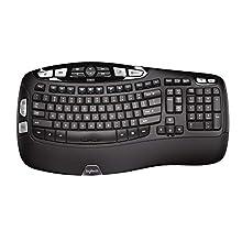 Logitech K350 Wireless Wave Ergonomic Keyboard with Unifying Wireless Technology – Black