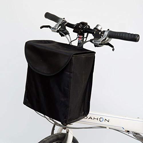 Fiets Front Basket Vierkante Bike Basket Canvas Fietsmand Met Cover Plantaardige Blauw Metalen Haak Regenbestendig Zwart, Zwart