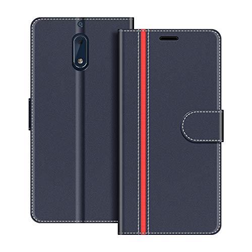 COODIO Handyhülle für Nokia 6 Handy Hülle, Nokia 6 Hülle Leder Handytasche für Nokia 6 Version 2017 Klapphülle Tasche, Dunkel Blau/Rot