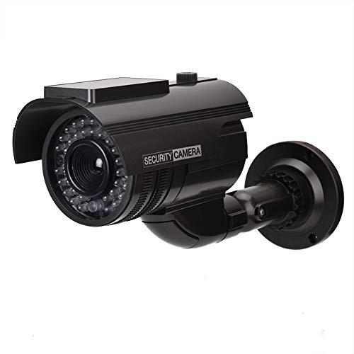 Telecamera di sorveglianza falsa, pannello solare Indicatore luminoso a LED rosso Telecamera di sorveglianza ad alta simulazione per la sicurezza domestica
