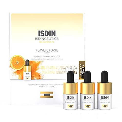 ISDIN Isdinceutics Flavo-C Forte, Sérum Facial Antioxidante con un 15% de Vitamina C Pura y Fresca, Vitamina E y Ácido Hialurónico, 3 Unidades