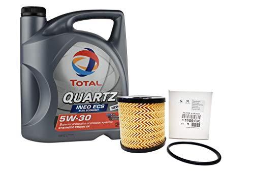 DUO Aceite Total Quartz Ineo ECS 5W-30 + filtro de aceite Original 1109CK motores gasolina 1.6, diesel 2.0 HDi