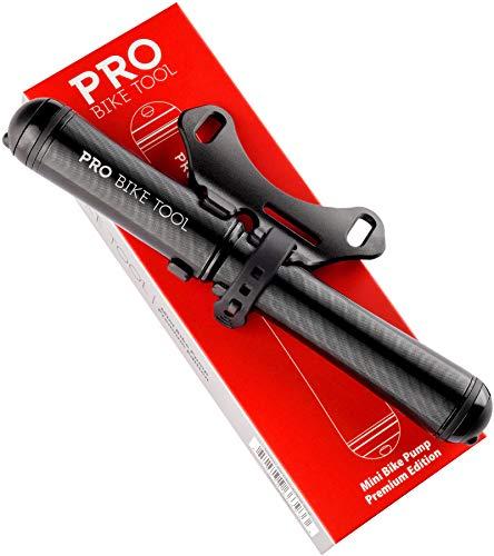 PRO BIKE TOOL Mini bomba de bicicleta Premium Edition – Se adapta a válvulas Presta y Schrader – PSI de alta presión – Bomba de neumáticos para bicicleta de carretera y montaña