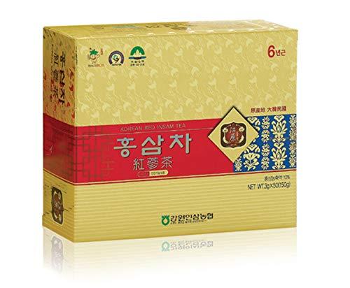 [Gangwoninsam] 6 Year Korean Red Ginseng Tea (3g x 50 Packets) – Contains 6 Year Korean Red Ginseng Extract, Healthy Korean Tea, Individually Packaged
