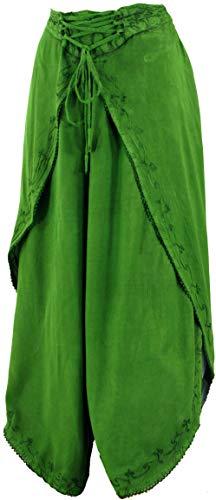 Guru-Shop Palazzohose, Boho Hosenrock, Orienthose, Sommerhose, Damen, Grün, Synthetisch, Size:38, Lange Hosen Alternative Bekleidung