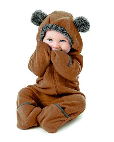 Cuddle Club Mono Polar Bebé para Recién Nacidos a Niños 4 Años - Pijamas Infantiles Chaqueta de Invierno Abrigo Polar Niño Mono de Niños - BearBrown2T