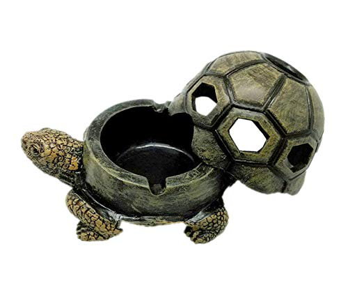 Jitejoe Turtle Ashtrays for Cigarettes Ashtray with Lid, Cute Resin Ash Holder for Indoor Outdoor Home Office and Car - Cigar Ashtray, Creative Cigarettes Ash Tray (Turtle Ashtray)