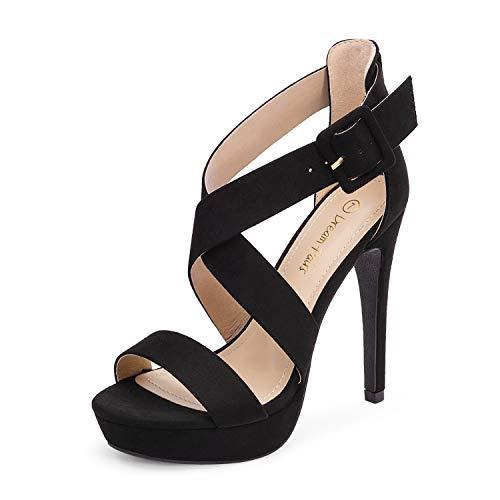 Dream Pairs Women's Black Suede Cross Strap Open Toe High Stilettos Party Pump Platform Heel Sandals Size 8.5 US Charlotte