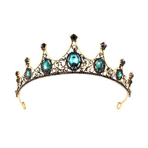 SOLUSTRE Barock Krone Hochzeit Diademe Juwelen Königin Krone Strass Tiara Stirnband Braut Kopfschmuck Haar Reifen für Frauen Dame Abschlussball Verlobungsfeier