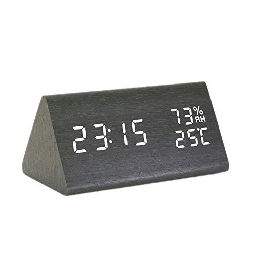 Kaper Go Dreieck Temperatur- Und Feuchtigkeitsmultifunktions-Mute Wecker Led Holz Uhr Studenten Geschenk-elektronische Uhr 15 * 8 * 7cm (Color : Black)