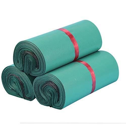 Förpackning med 100 plastpåsar, självhäftande och ogenomskinliga, plastpåsar för kläder och textilier, grön (25 x 35 cm/9,8 x 13,7 tum)
