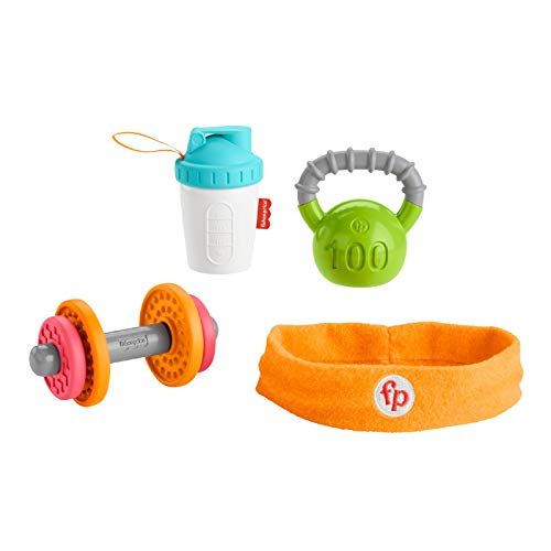Fisher-Price Baby Biceps Gift Set, 4 fitness-themed baby toys with wearable costume bib, rattle and teether for babies ages 3 months and older