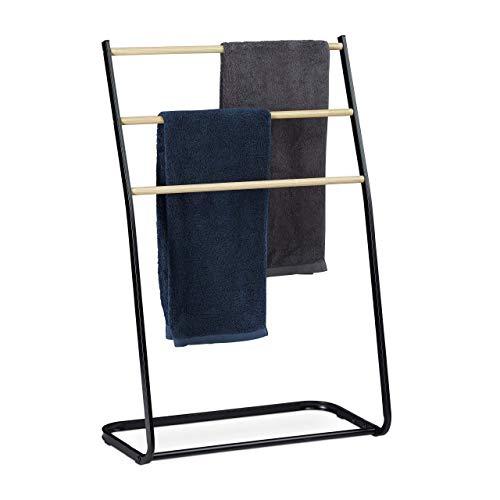 Relaxdays, noir Porte pieds, échelle, escalier 3 barres, métal bois support serviette bain, 86x58x30 cm, fer, 1 élément