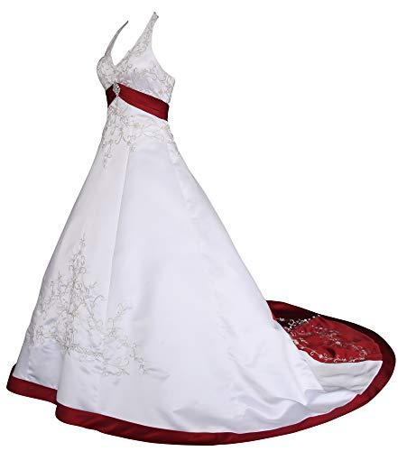 Romantic-Fashion Brautkleid Hochzeitskleid Weiß/Bordeaux Modell W085 A-Linie Satin Stickerei Zweifarbig DE Größe 36