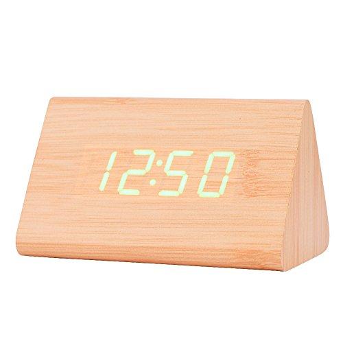 LED Digital Wecker, Holz Uhr für Schlafzimmer Modern Holz Dreieck Uhr 3 Stufen Helligkeit Temperaturanzeige mit Sprachsteuerung(Gelbes Holz)