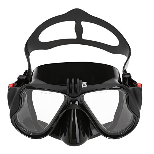 VILISUN Gafas/Máscara de Buceo y Snorkeling para Cámara GoPro,Anti-niebla y Anti-fugas Vidrio Templado,Unisex,Color Amarillo,Talla única-Color Negro